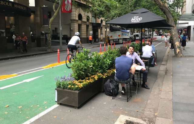 Expanded outdoor dining and footpath space will become a permanent fixture on Pitt Street under the proposed changes.