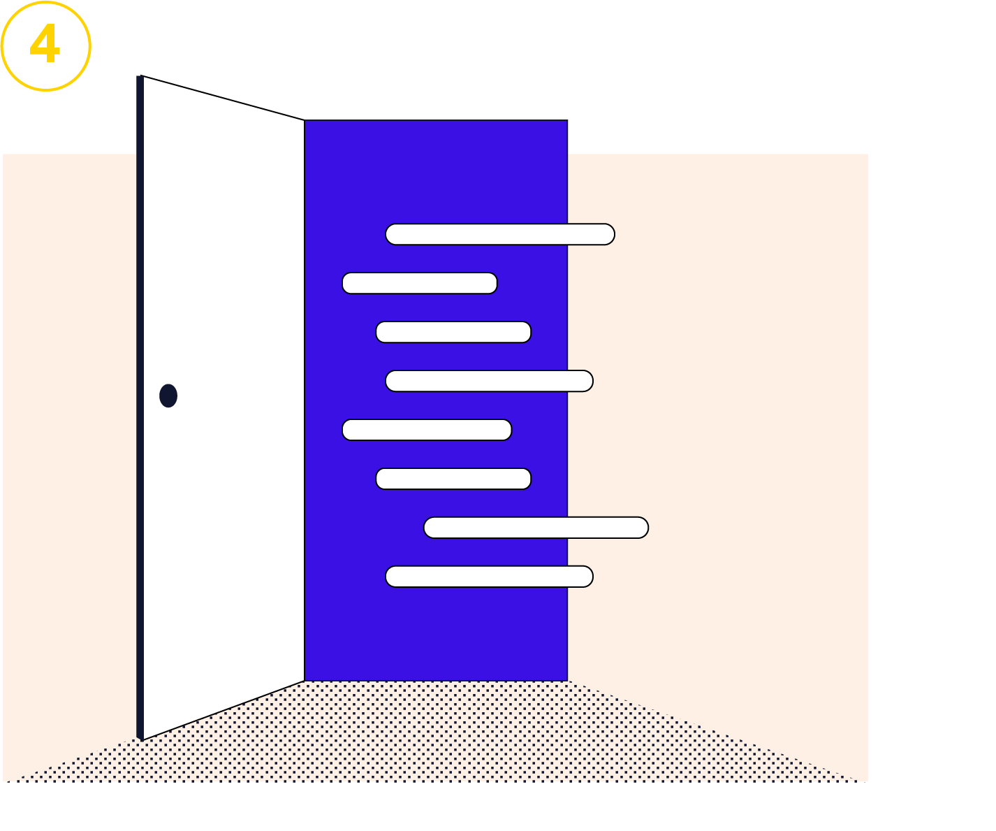 Open doorway with lines of code coming out. Illustration.