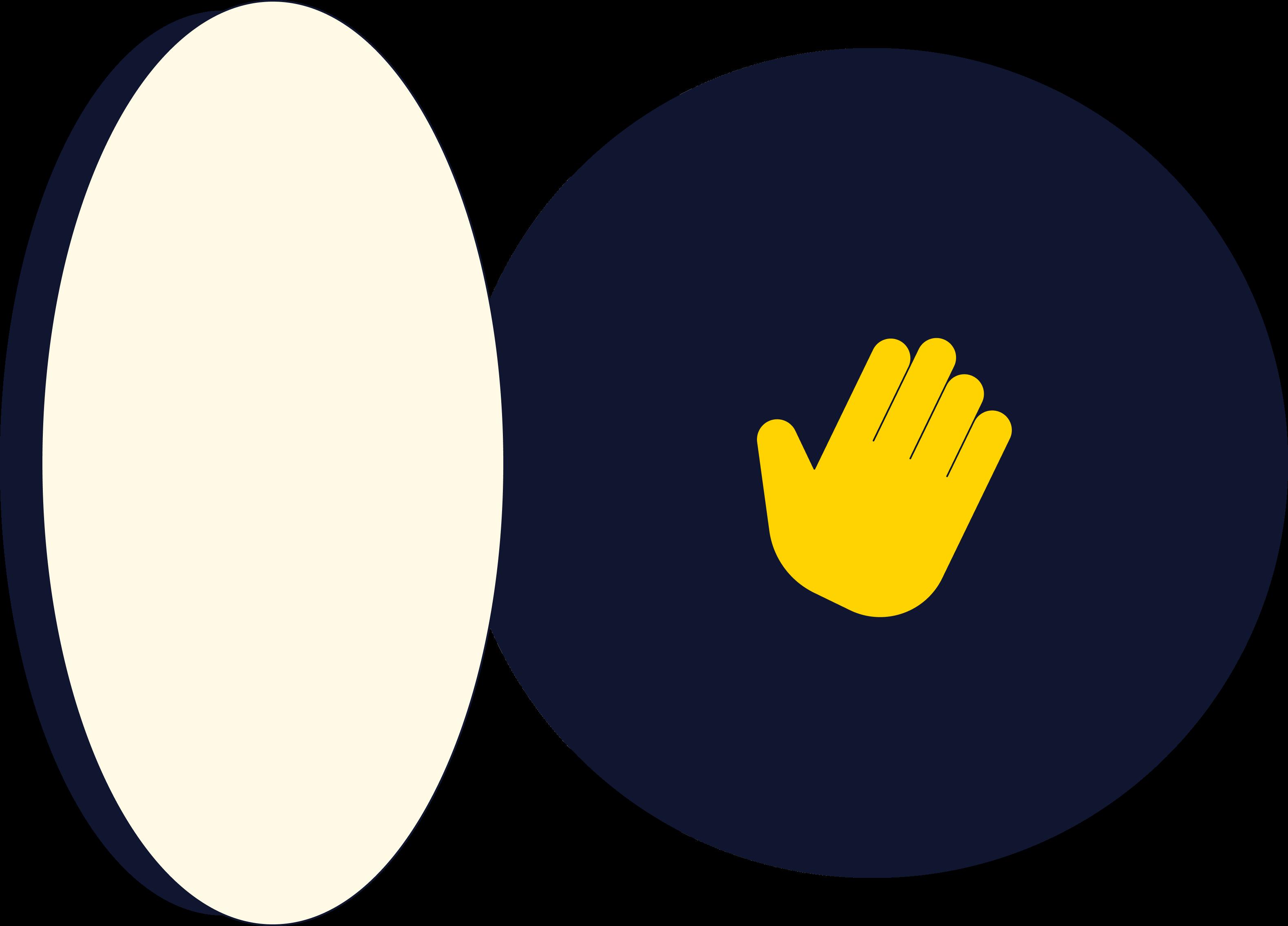 Hand waving through open portal. Illustration.
