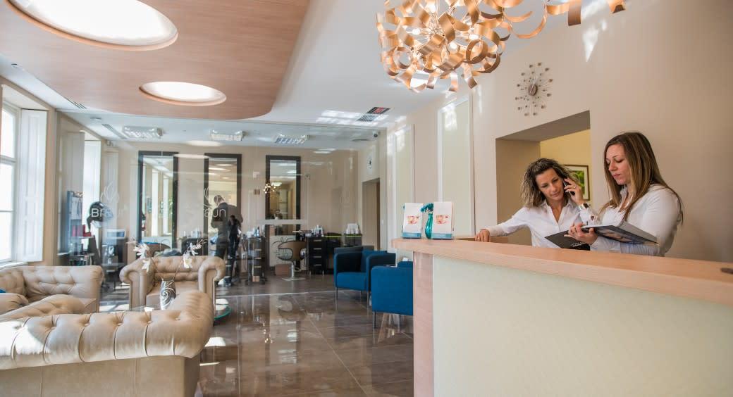 Reception area at Braun Dental & Beauty in Sopron, Hungary.