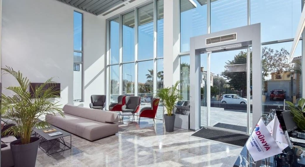 The modern reception area at Dunya IVF Clinic in Cyprus.