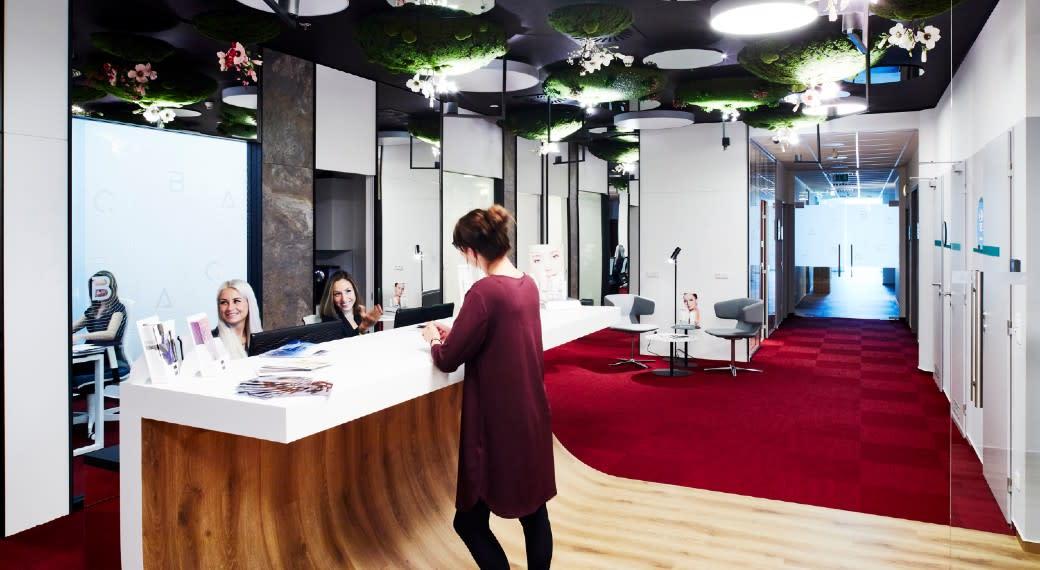 Reception area at ABClinic Art & Beauty in Prague, Czech Republic.