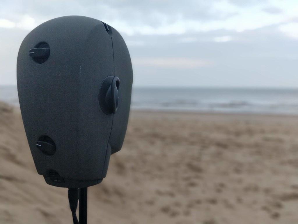 A Binaural microphone looks out to sea
