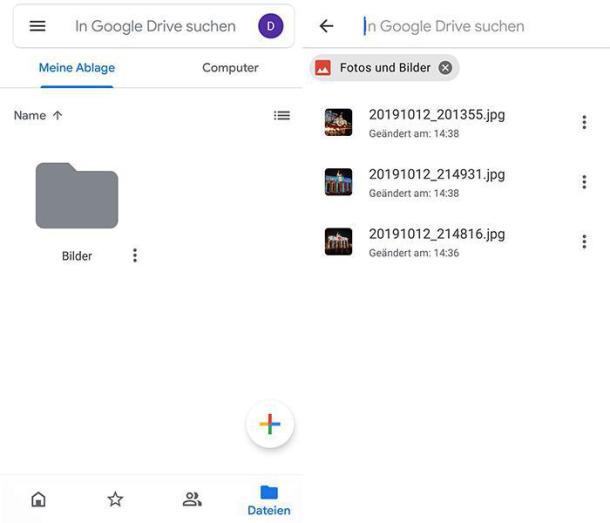 Screenshots von google Drive