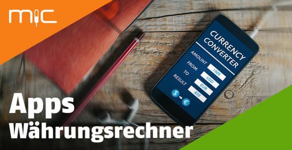 Smartphone mit einer geöffneten Währungsrechner-App.
