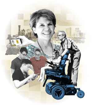 A graphic illustration collage of a female faculty member smiling, a hand holding a mobile device, the Denver city skyline, a trio of college students collaborating around an iPad, and a man riding on the back of a wheelchair driven by a young girl