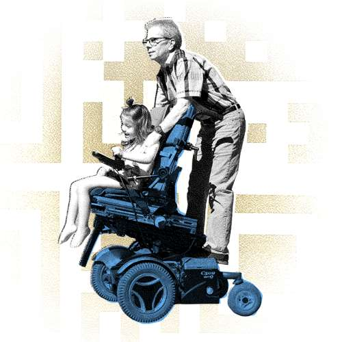 A graphic illustration collage of the pattern of a QR code in the background with a man riding on the back of a wheelchair driven by a young girl