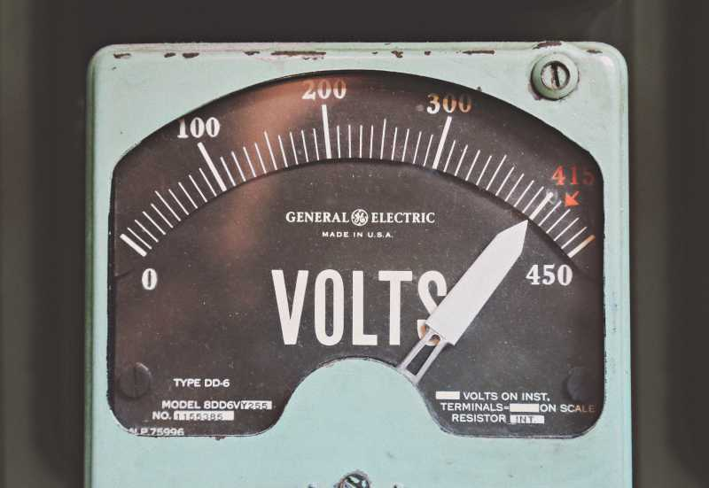 Photo of an old fashioned volt meter
