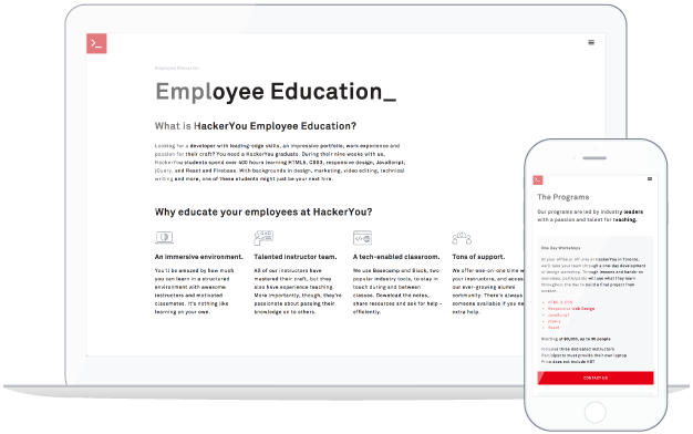 Website Mockup Employee Education