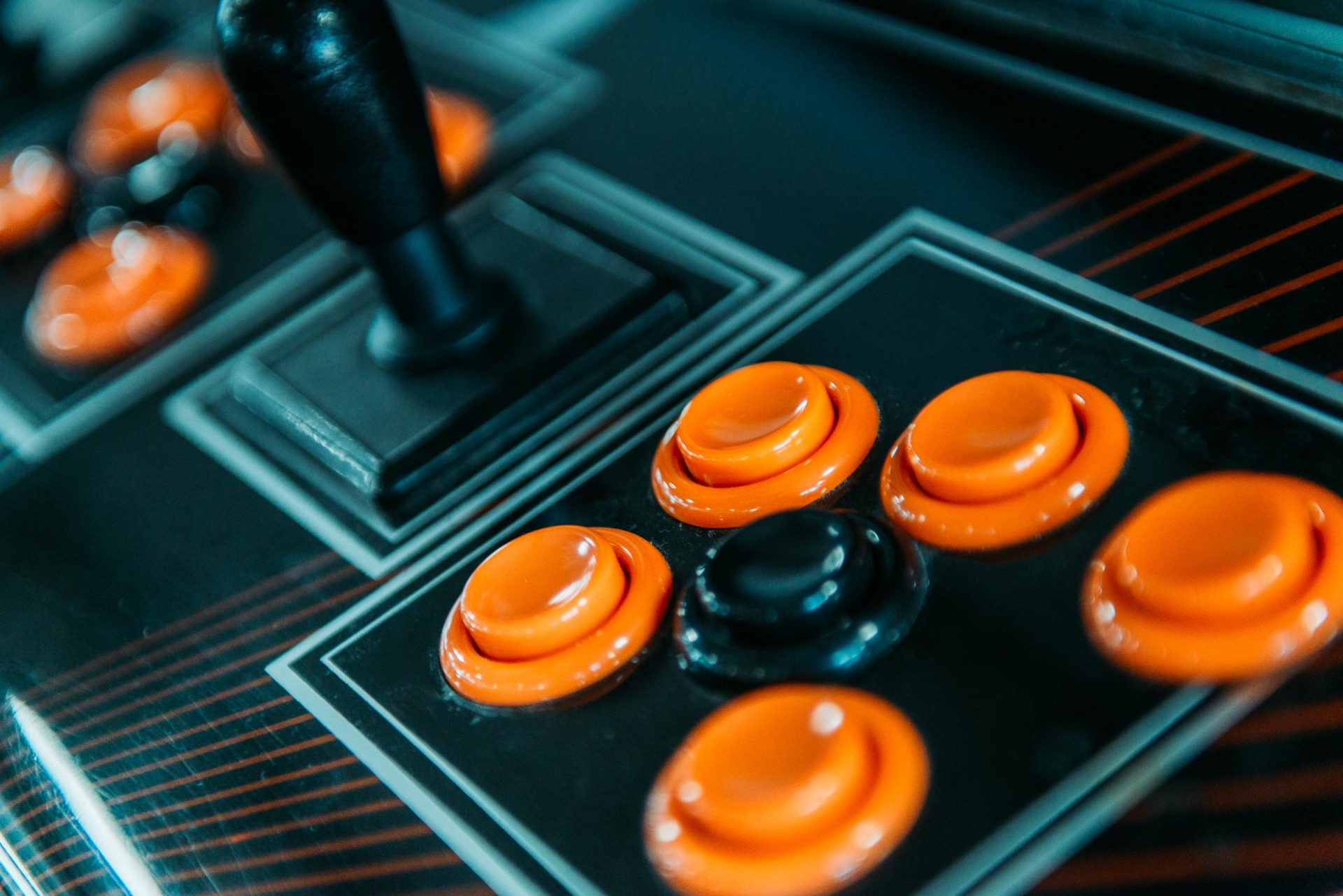 game buttons in black and orange