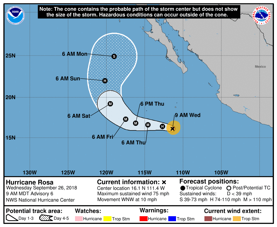 Hurricane Rosa heads for Baja, Southwestern US