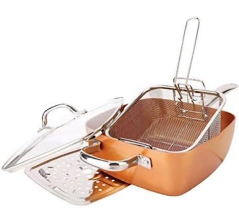 Copper Chef – 6-in-1 uses Oven Safe Non-Stick Copper Titanium Pan Set