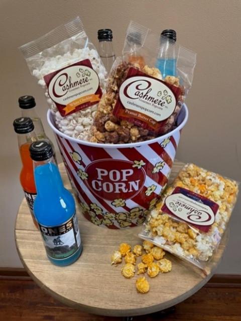 Popcorn tub full of goodies