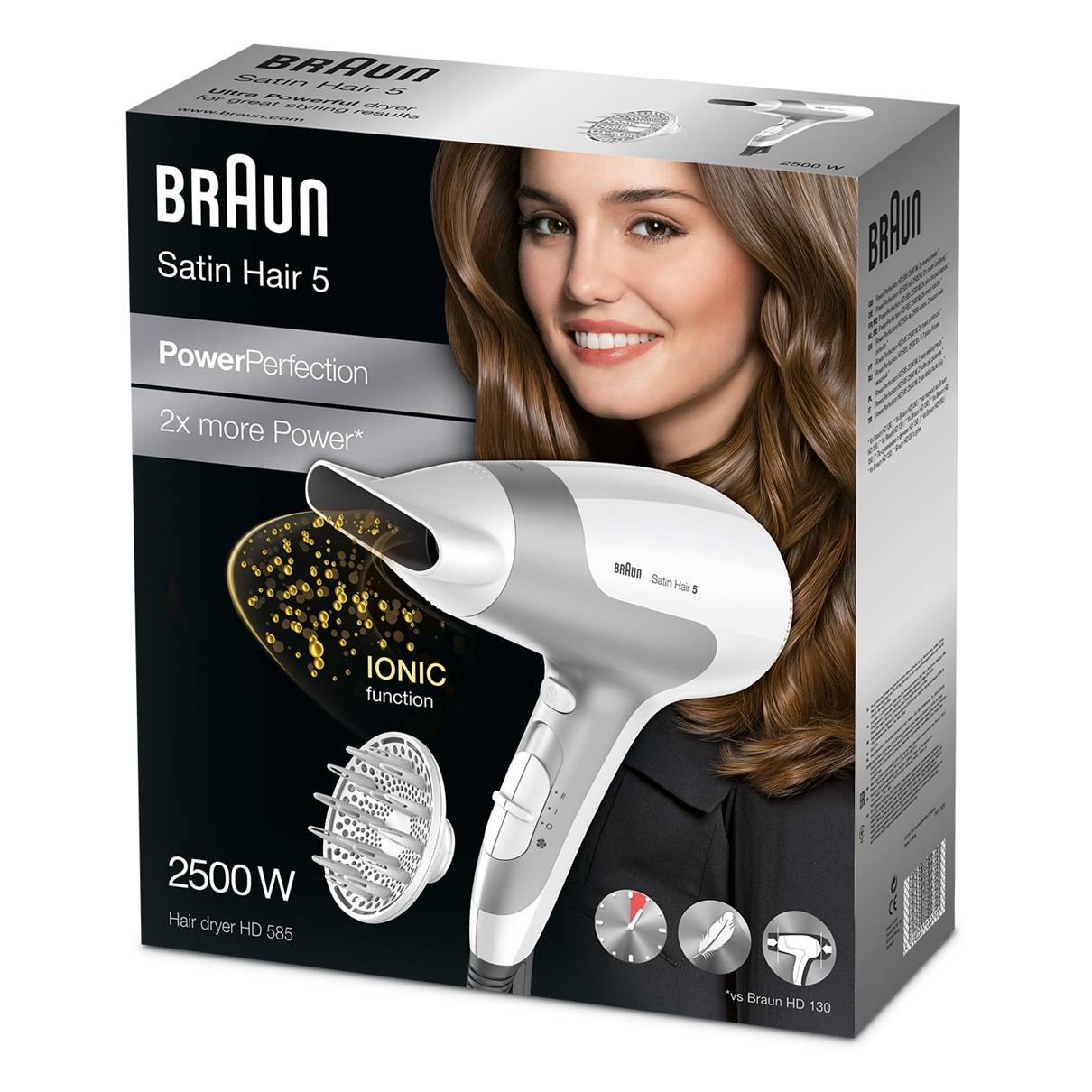 Uscător Braun Satin Hair 5 PowerPerfection HD585 – Ionic.