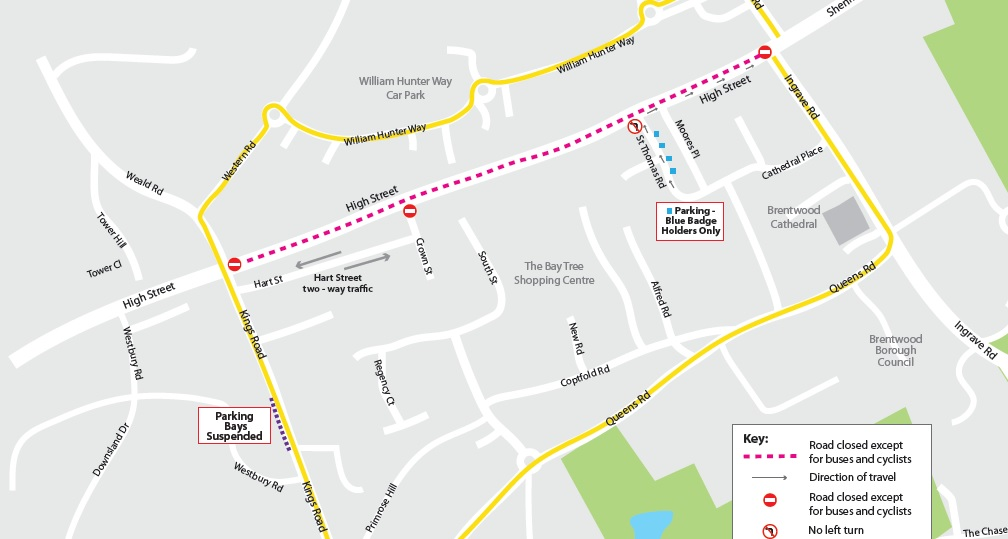 Brentwood High St to close to most vehicles to help people keep safe by social distancing in the town centre