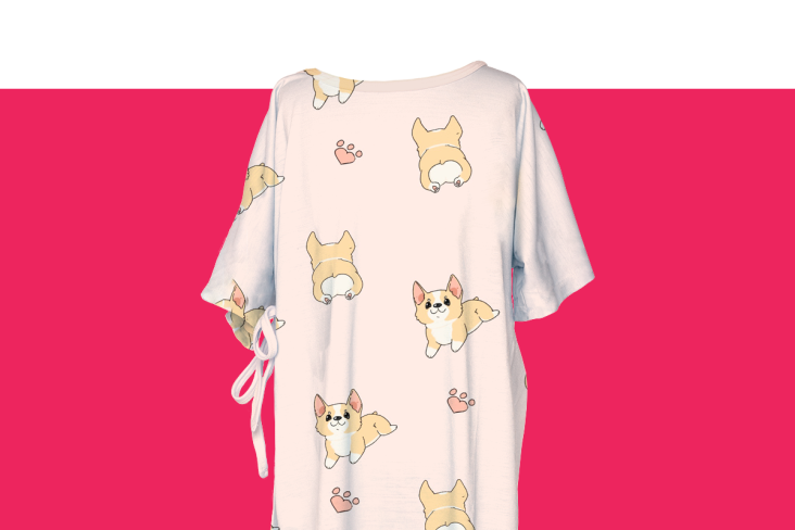Hospital gown with corgis all over