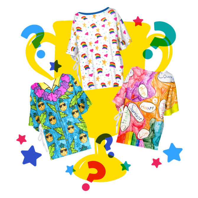 The pineapple hospital gown, rainbow gown, and encouraging words gown with questions marks