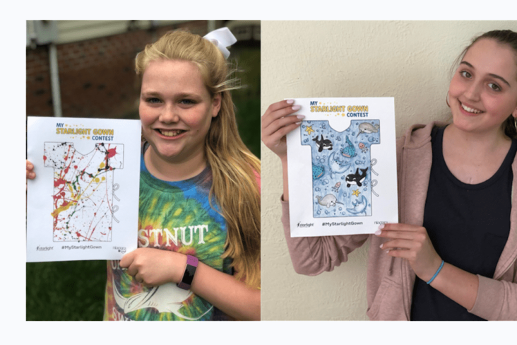 12-YEAR-OLD ADDISON (LEFT) AND 15-YEAR-OLD MATILDA ARE THE TWO WINNERS OF THE 2019 MY STARLIGHT GOWN CONTEST