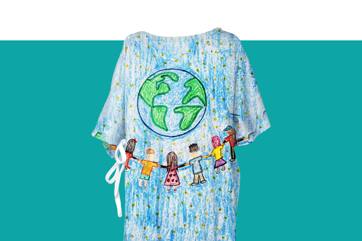 Hospital gown with a circle of friends surrounding the earth