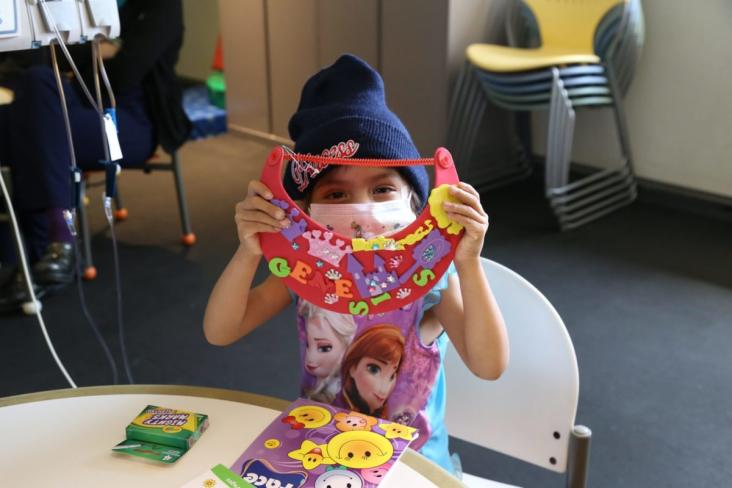 Genesis, age 3, playing with arts and crafts delivered by Michaels (Michaels delivered nearly 30,000 of these backpacks to hospitalized kids across the nation)