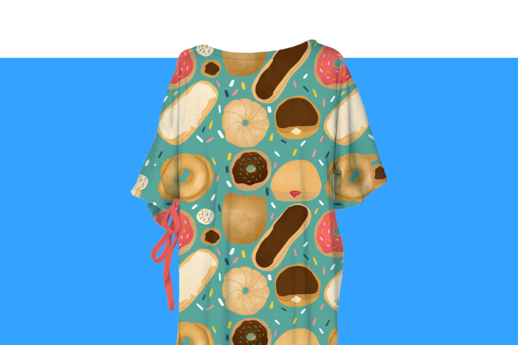 Hospital gown with donuts and sprinkles
