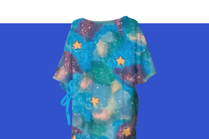 Hospital gown with a space and stars