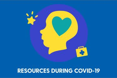 COVID-19 Resources graphic with illustration of a head and a heart