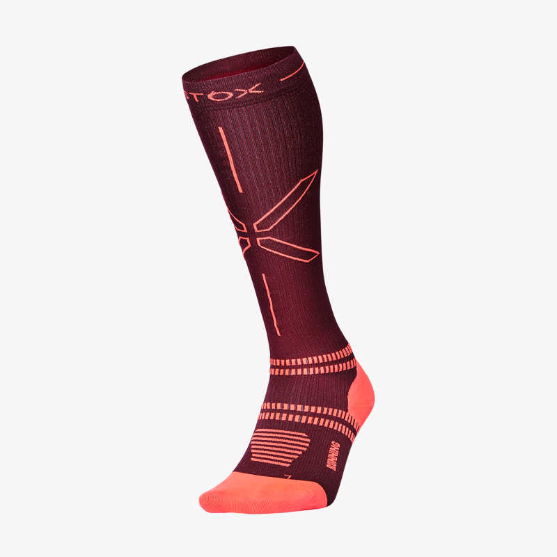 Running Socks Women - Bordeaux / Orange - F