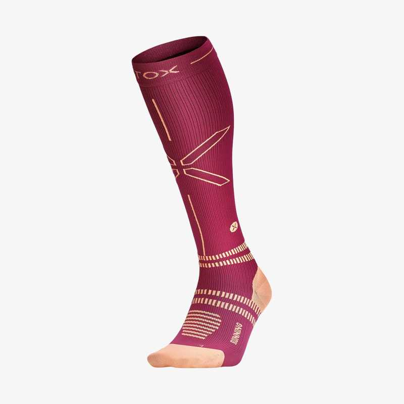 Running socks women - Fuchsia / Orange - Thumbnail