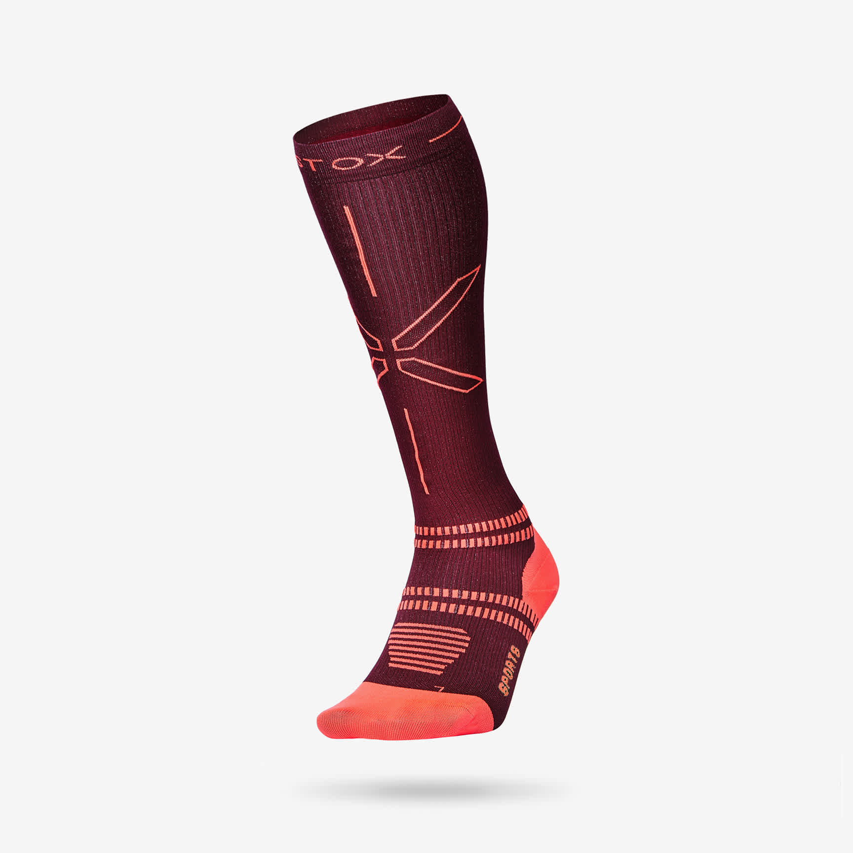 Sports Socks Women- Bordeaux Orange