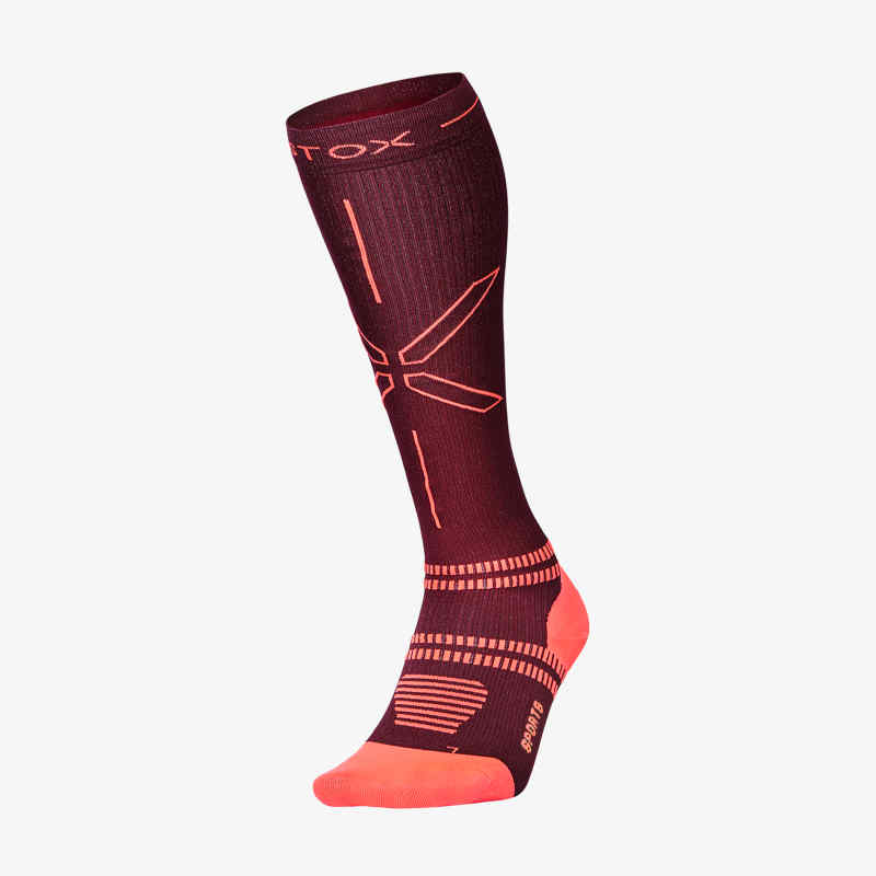 Sports Socks Women - Bordeaux / Orange - F