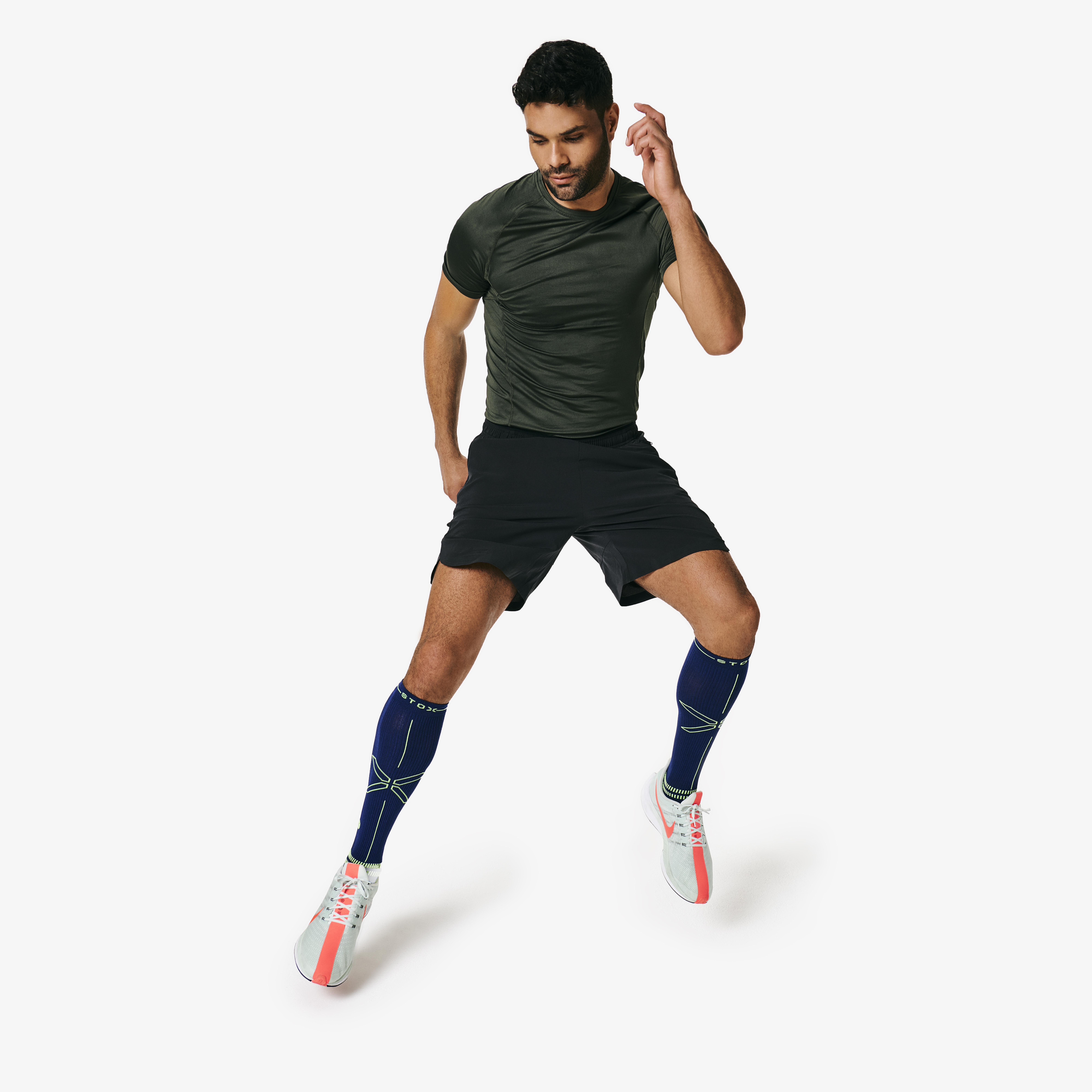 Running Socks Men - Dark Blue / Yellow