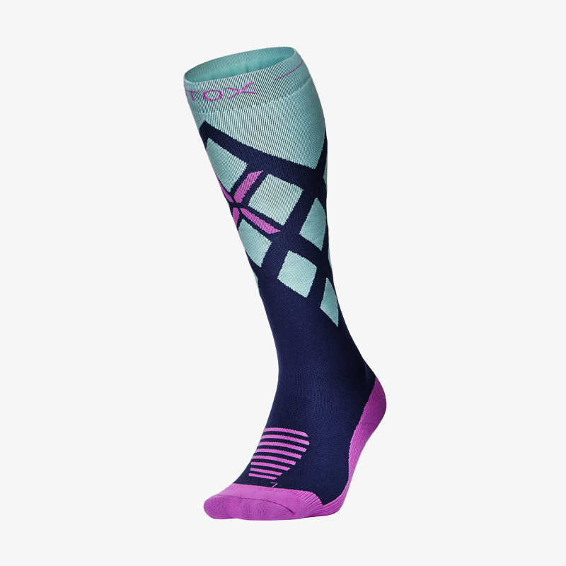 Skiing Socks Women - Dark Blue / Mint / Purple - F