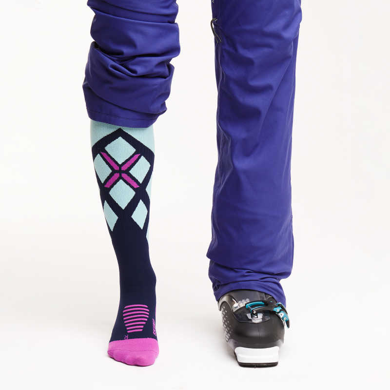 Skiing Socks Women - Dark Blue / Mint / Purple