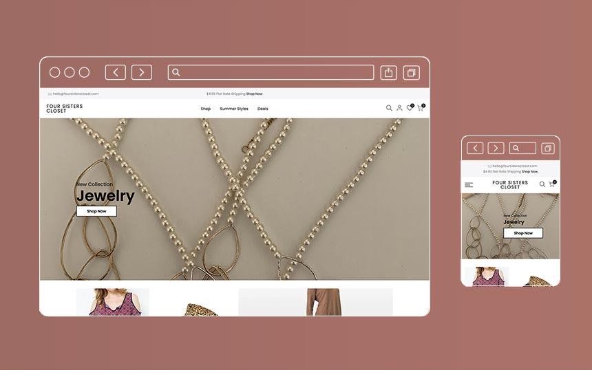 Four Sisters Closet e-commerce site build on the Shopify platform
