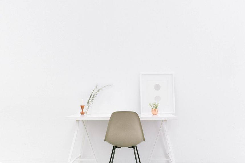 White wooden table with a chair