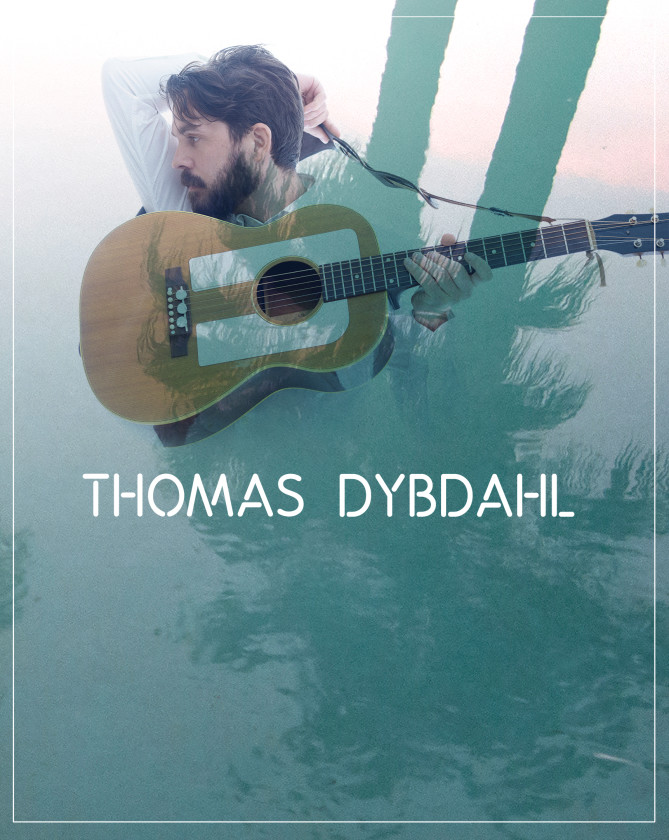 Thomas Dybdahl poster with guitar and water
