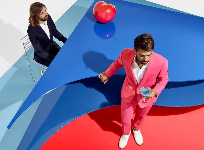 Breakbot on blue and red sculpture