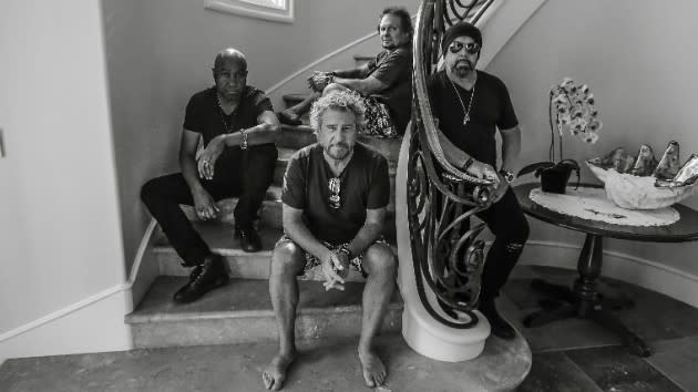 Sammy Hagar & The Circle band portrait on staircase