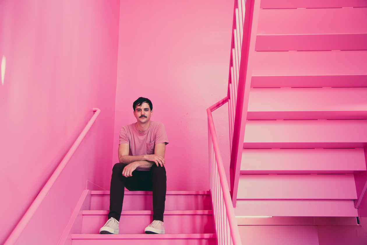 Bayonne in pink stairwell
