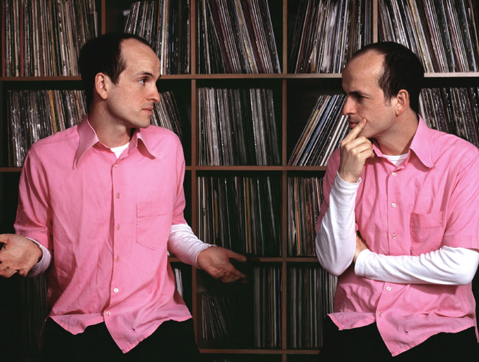Matthew Herbert wearing pink shirt