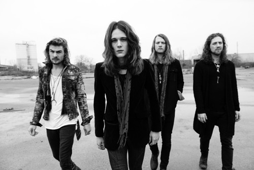 Tyler Bryant and The Shakedown black and white band portrait