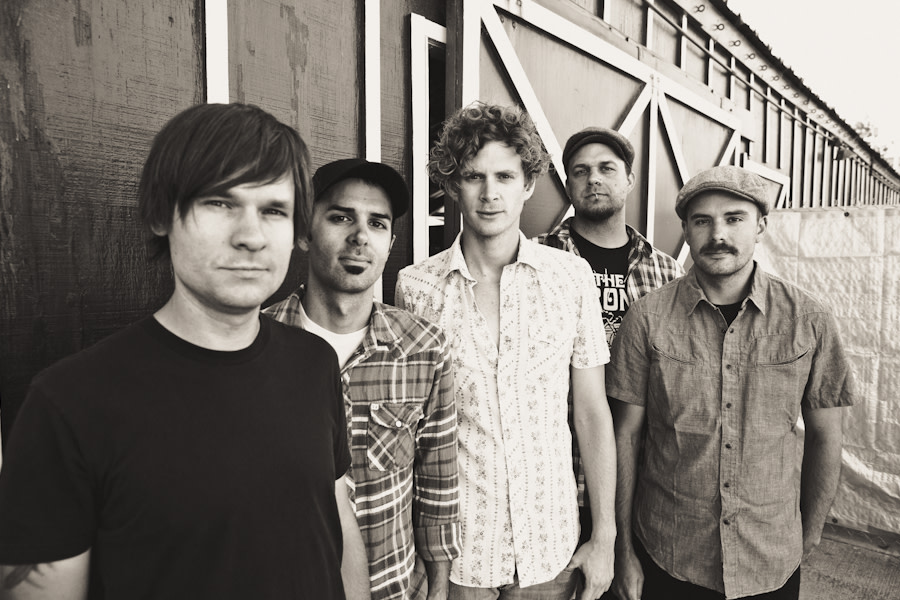 Relient K group portrait outside black and white