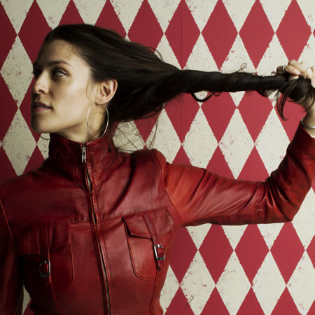 Dessa portrait in red leather jacket