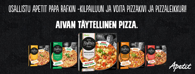 Osallistu Apetit Papa Rafkin -kilpailuun ja voita pizzakivi ja pizzaleikkuri!