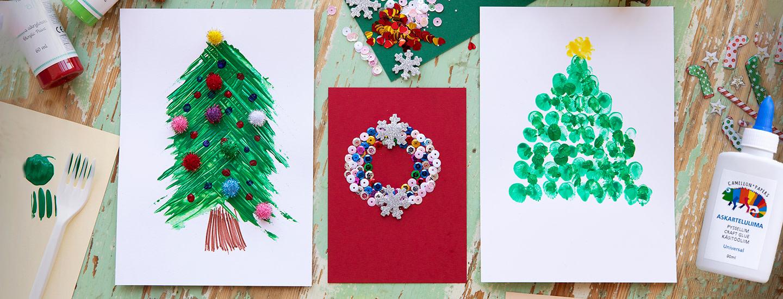 Helpot joulukortti-ideat lasten askarteluun