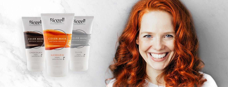 Biozell Color Mask sävyttää hiukset hellävaraisesti ja nopeasti