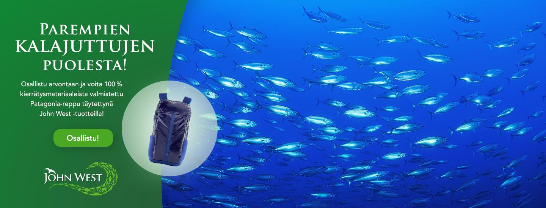 Osallistu kilpailuun ja voita 100% kierrätysmateriaaleista valmistettu Patagonia reppu täytettynä John West tuotteilla!