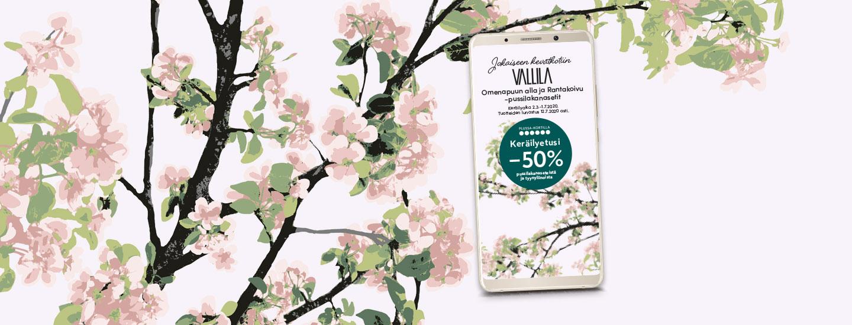 Jokaiseen kevätkotiin Vallila Rantakoivu- ja Omenapuun alla -pussilakanasetit -50%
