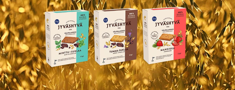 Fazer Jyväshyvä -kekseissä käytetään vastuullisesti viljeltyä kotimaista kauraa